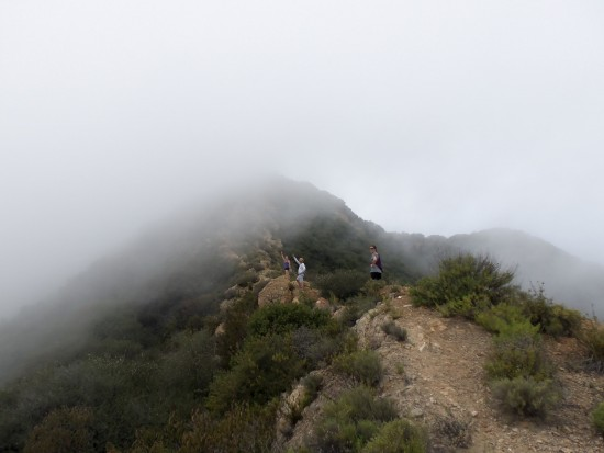 The misty mountain top of Zume Ridge; Busch Dr. in Malibu.